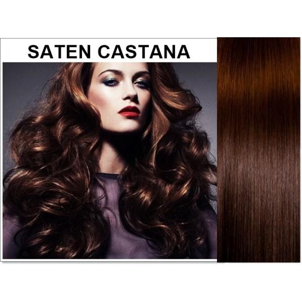 Front Lace Saten Castana