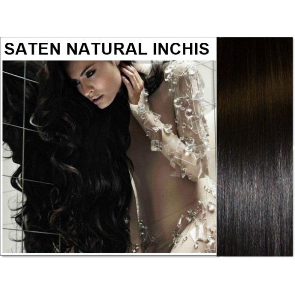 Extensii Clip-On Drept Saten Natural Inchis