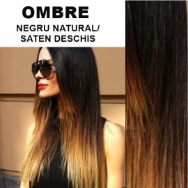 Cozi de Par Diamond Ombre Negru Natural / Saten Deschis