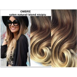 Extensii Clip-On Diamond Ombre Saten Natural / Blond Nisipiu
