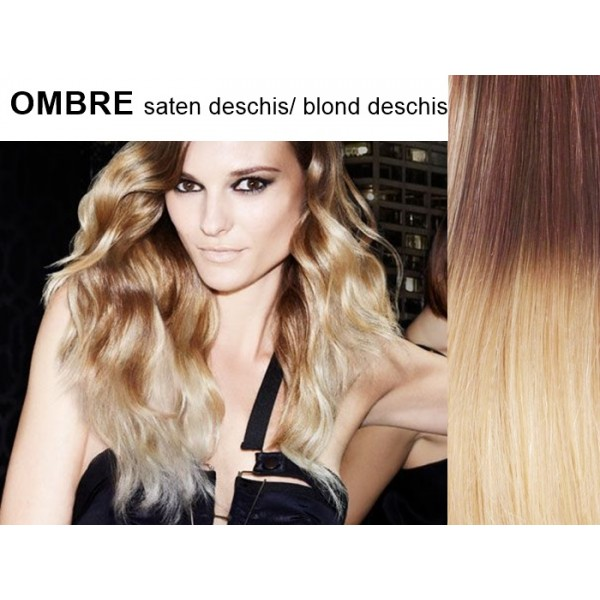 Extensii Clip-On Drept Ombre Saten Deschis / Blond Deschis