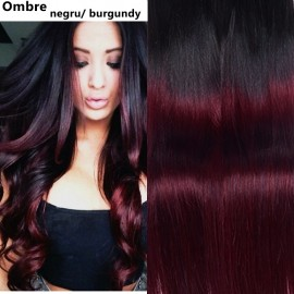 Extensii Tape IN Diamond Ombre Negru / Burgundy