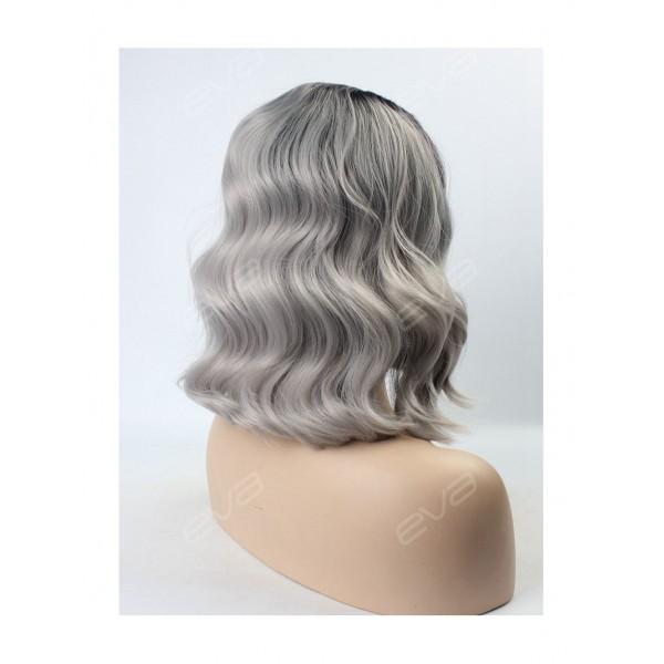 Peruca din par natural short ombre, Saten foarte inchis/blond grey - ondulata